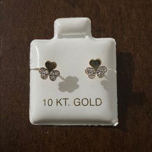 10k gold studs Clover earrings